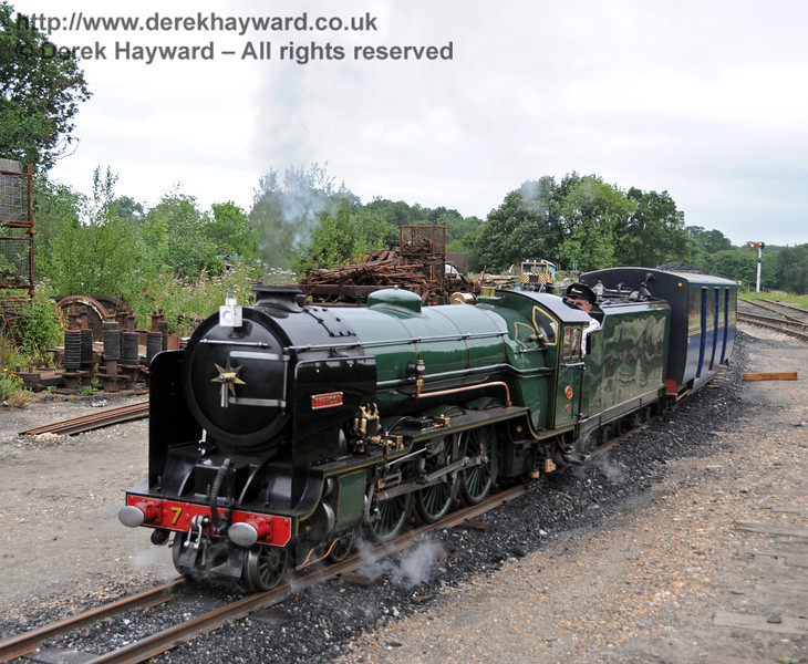 Typhoon (Number 7) from the Romney Hythe and Dymchurch Railway giving rides in Horsted Keynes Down Yard. 06.08.2010  3646
