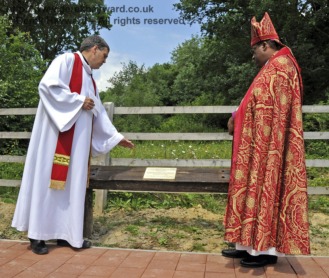 Father John Twistleton (Rector of St. Giles' Church, Horsted Keynes, and the Railway's chaplain), and The Right Revd Cornell Jerome Moss (Bishop of Guyana) dedicate the main memorial plaque.  03.07.2011   2164