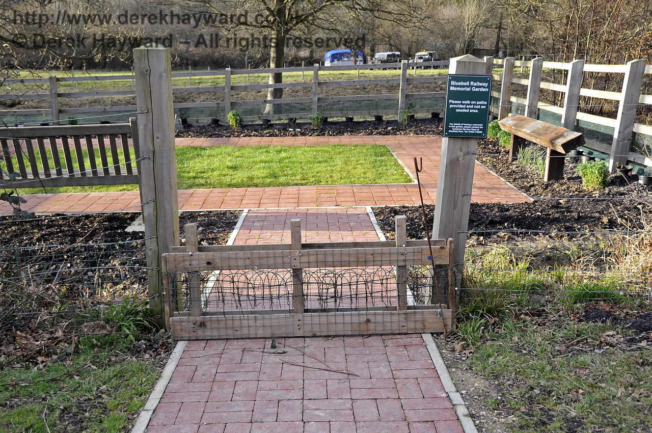 The entrance to the memorial garden pictured on 21.01.2012.  The fence at the entrance prevents damage by rabbits.   3502