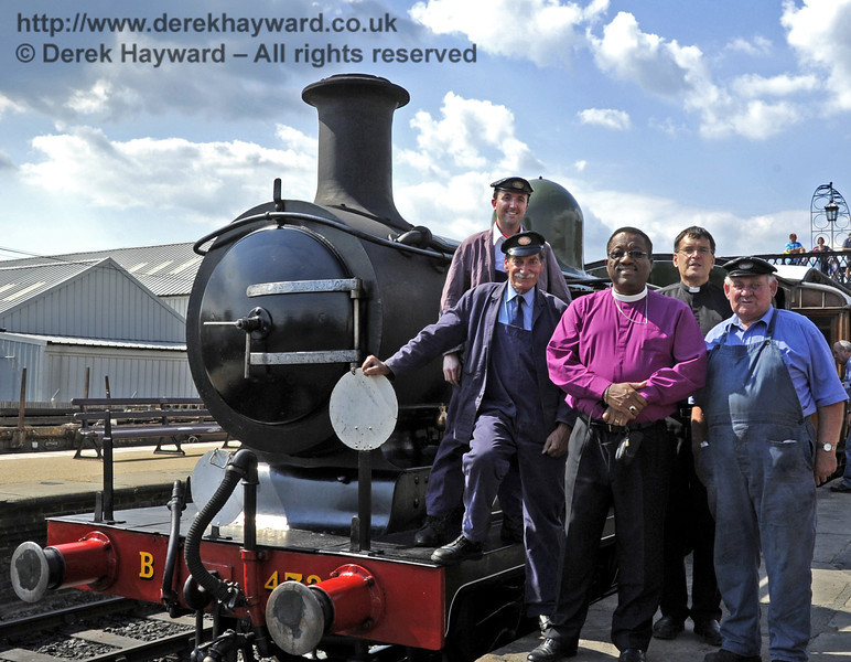 The crew of B473 pose at Sheffield Park with The Right Revd Cornell Jerome Moss (Bishop of Guyana),and Father John Twistleton (Rector of St. Giles' Church, Horsted Keynes, and the Railway's chaplain).  03.07.2011  2202