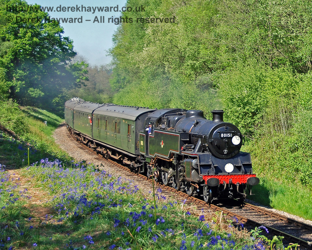 The original photograph of 80151 steaming south through Lindfield Wood on 01.05.2007.