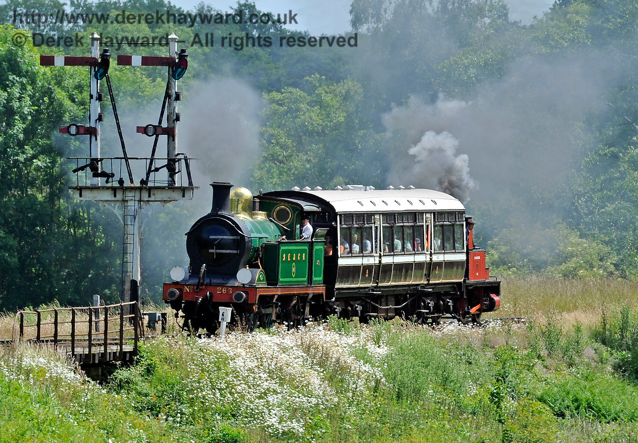 263 and No.3 Captain Baxter pass over Poleay Bridge with the shuttle train.  27.06.2015  11484