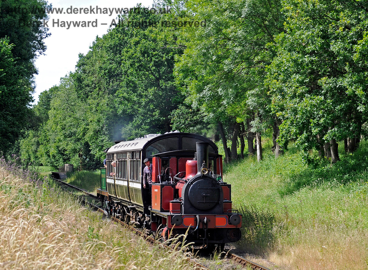 No.3 Captain Baxter steams south from Ketches Halt with the shuttle.  27.06.2015  11533
