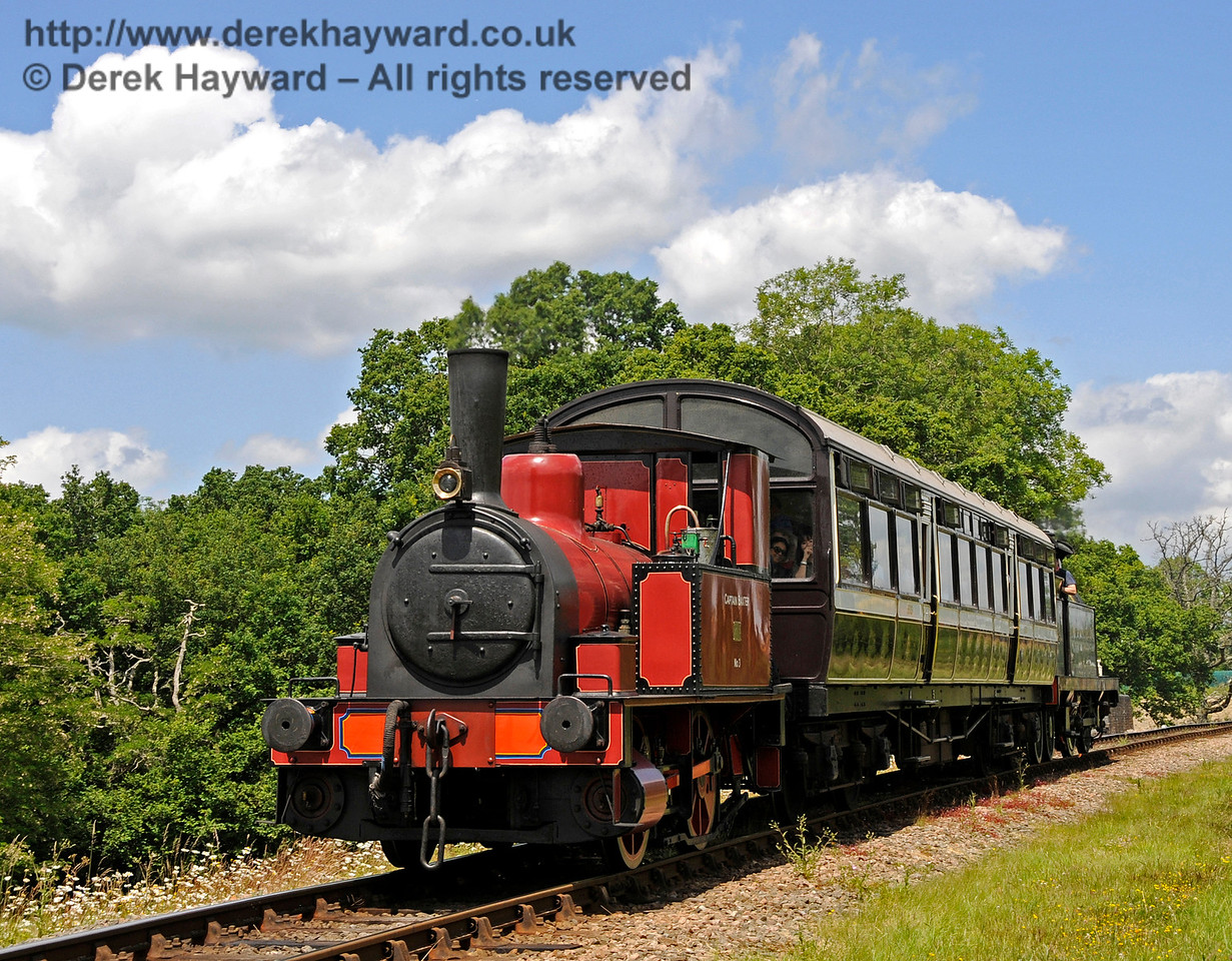 No.3 Captain Baxter with the Horsted Keynes to Sheffield Park shuttle train at New Road Bridge.   27.06.2015  13089