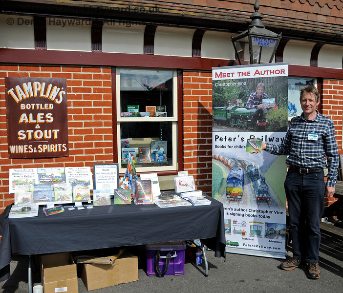 "Childrens railway author Christopher Vine at a ""Meet The Author"" event at the Model Railway Weekend, Sheffield Park.  27.06.2015  13157"