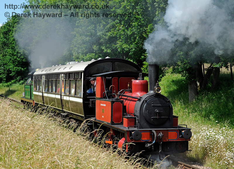 No.3 Captain Baxter with the Sheffield Park to Horsted Keynes shuttle at Ketches Halt.  27.06.2015  11493