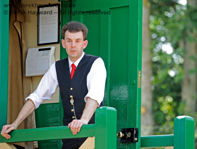 James Young on duty in the signal box at Horsted Keynes (and failing to keep a look out for photographers on trains).   29.06.2019 17195