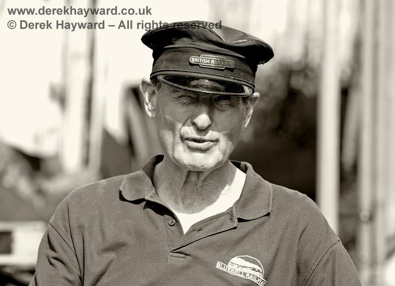 Tony Sullivan doing an impression of a 1960s BR driver.  Sheffield Park 29.06.2019 17205