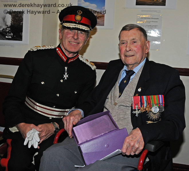 Her Majesty's Lord Lieutenant for East Sussex, Mr Peter Field, poses with the late Bernard Holden MBE, President BRPS, during the presentation of the Queen's Award for Voluntary Service.  Sheffield Park  16.09.2010  4814