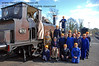 The late Bernard Holden MBE, President BRPS, poses with members of the 9F Club at Sheffield Park.  22.03.2009   (This is version 3 of the image, taken as people assembled for the main picture - featured at the start of the collection).