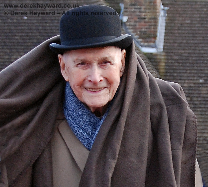 The late Bernard Holden MBE, President BRPS, pictured on a visit to East Grinstead on a chilly January day. 17.01.2009