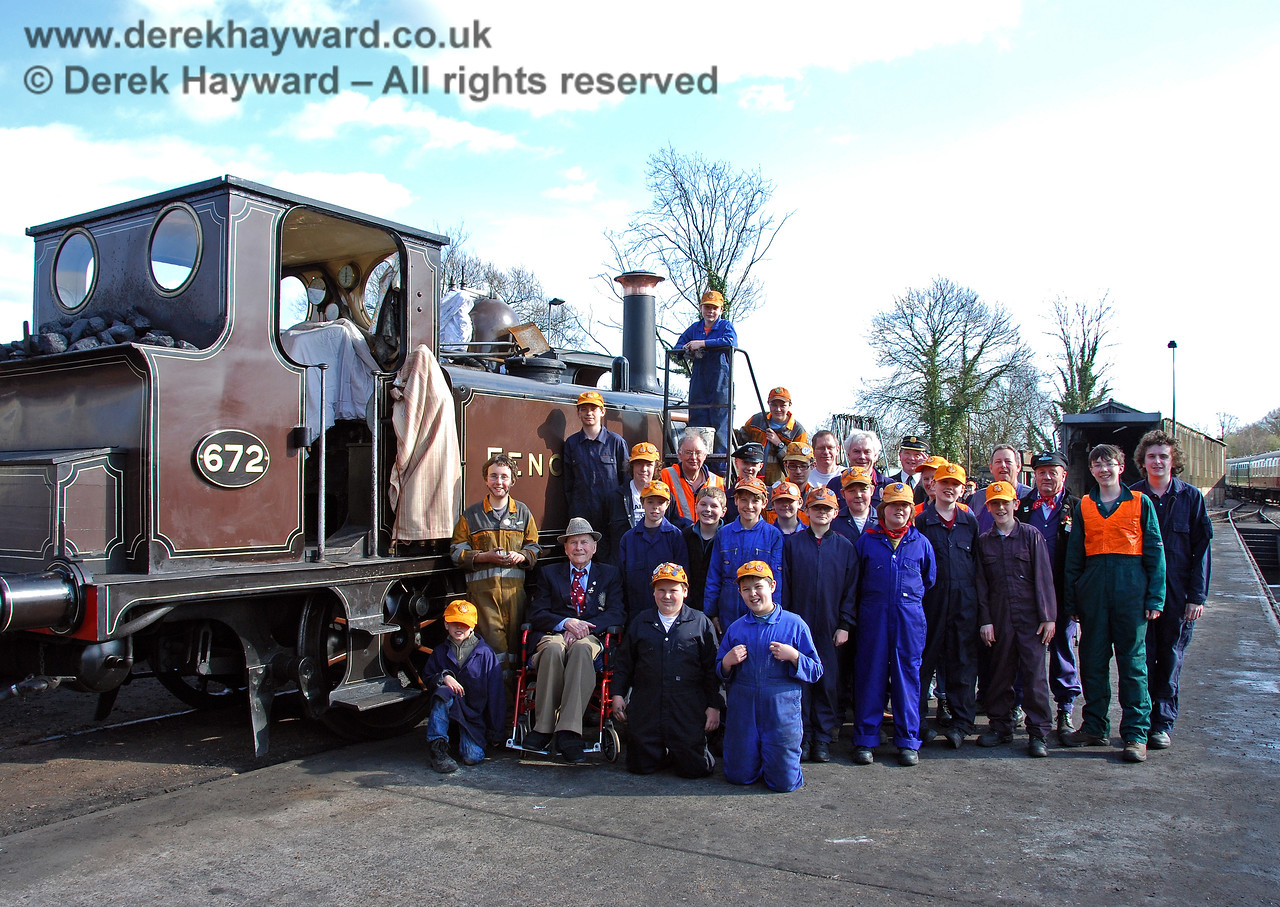The late Bernard Holden MBE, President BRPS, poses with members of the 9F Club at Sheffield Park.  22.03.2009   (There are three alternative versions of this image, with fewer people included, at the end of this collection)