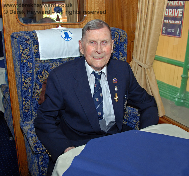 The late Bernard Holden MBE, President BRPS, in the Lounge Car at Horsted Keynes.  17.06.2009