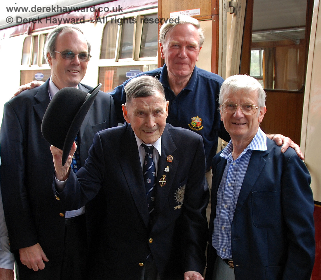 The late Bernard Holden MBE, President BRPS, with three of the four original students who thought up the idea of the Bluebell Railway in 1959.  (Left to right) Chris Campbell, David Dallimore and the late Martin Eastland.  17.06.2009