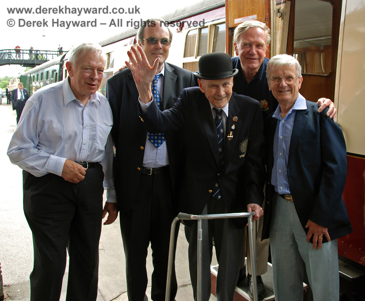 The late Bernard Holden MBE, President BRPS, with the four original students who thought up the idea of the Bluebell Railway in 1959.  (Left to right) Alan Sturt, Chris Campbell, David Dallimore and the late Martin Eastland.  17.06.2009