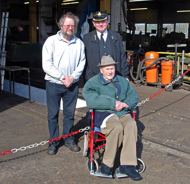 The late Bernard Holden MBE, President BRPS undertaking one of his regular Presidental Inspections at Sheffield Park, pictured with Lewis Nodes, Rolling Stock Director and Len Harvie, Station Master.  22.03.2009