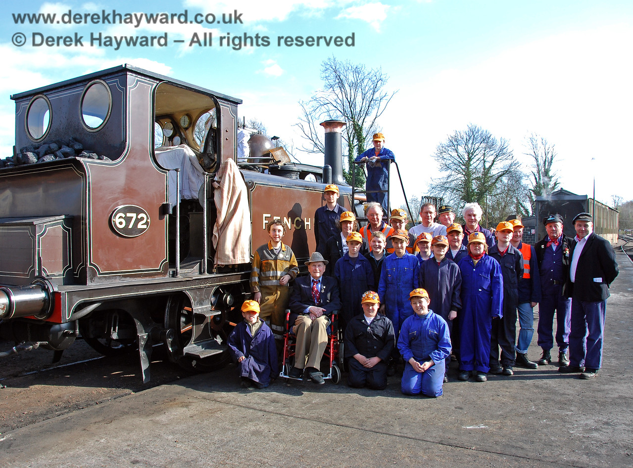 The late Bernard Holden MBE, President BRPS, poses with members of the 9F Club at Sheffield Park.  22.03.2009   (This is version 4 of the image, taken as people assembled for the main picture - featured at the start of the collection).