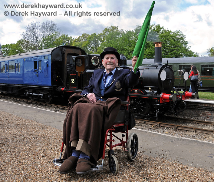The late Bernard Holden MBE, President BRPS, gives Stepney the green flag at the Bluebell Railway 50th Anniversary celebrations.  17.05.2010  2577