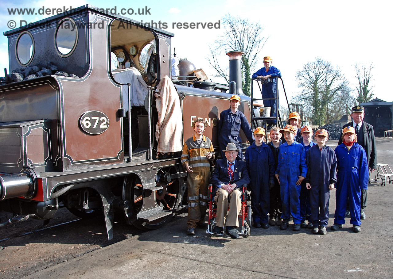 The late Bernard Holden MBE, President BRPS, poses with members of the 9F Club at Sheffield Park.  22.03.2009  (This is version 2 of the image, taken as people assembled for the main picture - featured at the start of the collection).