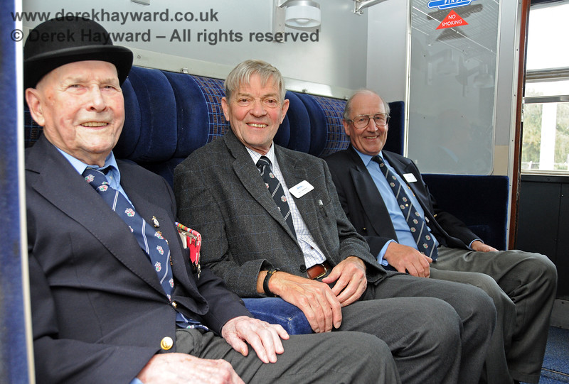 The late Bernard Holden MBE, President BRPS, prepares to inspect the line south from East Grinstead, accompanied by Bill Brophy, Vice President BRPS and Sam Bee, Vice Chairman BRPS.  05.09.2010  4640