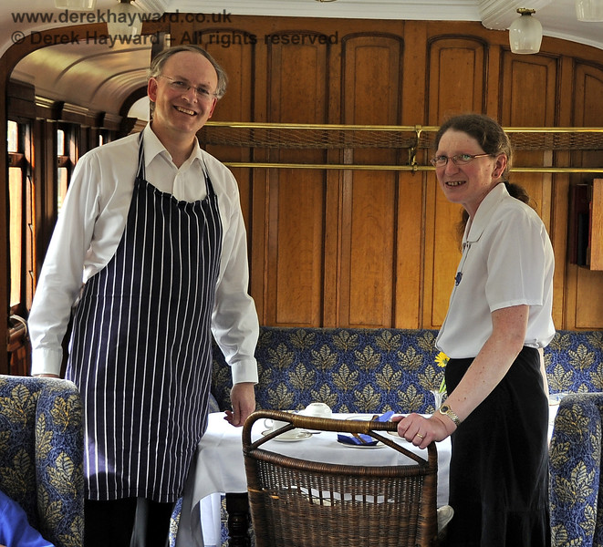 Richard and Deborah Salmon provide hospitality (and lots of cakes and jam) in the Directors Saloon.  Kingscote 29.08.2011  2829
