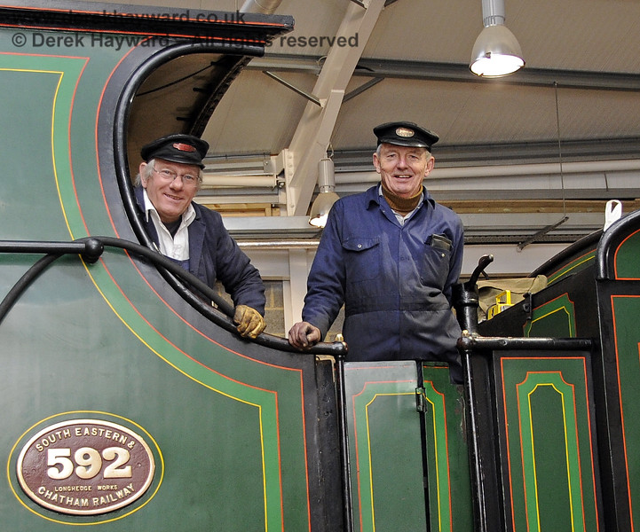 The crew on board 592 on one of the first occasions that a steam engine entered the newly constructed Sheffield Park Carriage Shed.  10.12.2011  3299