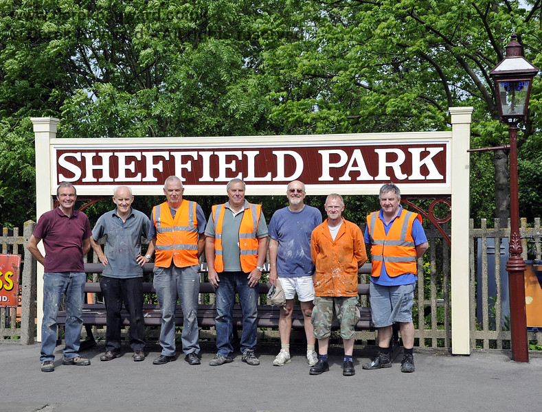 Some of the Friends of Sheffield Park, who help to maintain the station. (Left to right) Graham Aitken, Dennis Mathews, Dave Brown, Ron Reed, Richard Lowe, Chas Melton and Mick Upton.   30.05.2012  4976