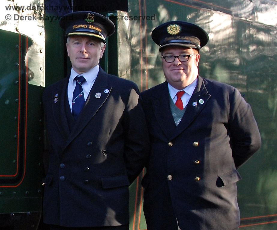Very important Station Masters at Kingscote (Roy Watts, Chairman BRPS, and Richard Clark, working member since October 1984).  Roy is to transfer to the new station at East Grinstead in 2013.  06.12.2009