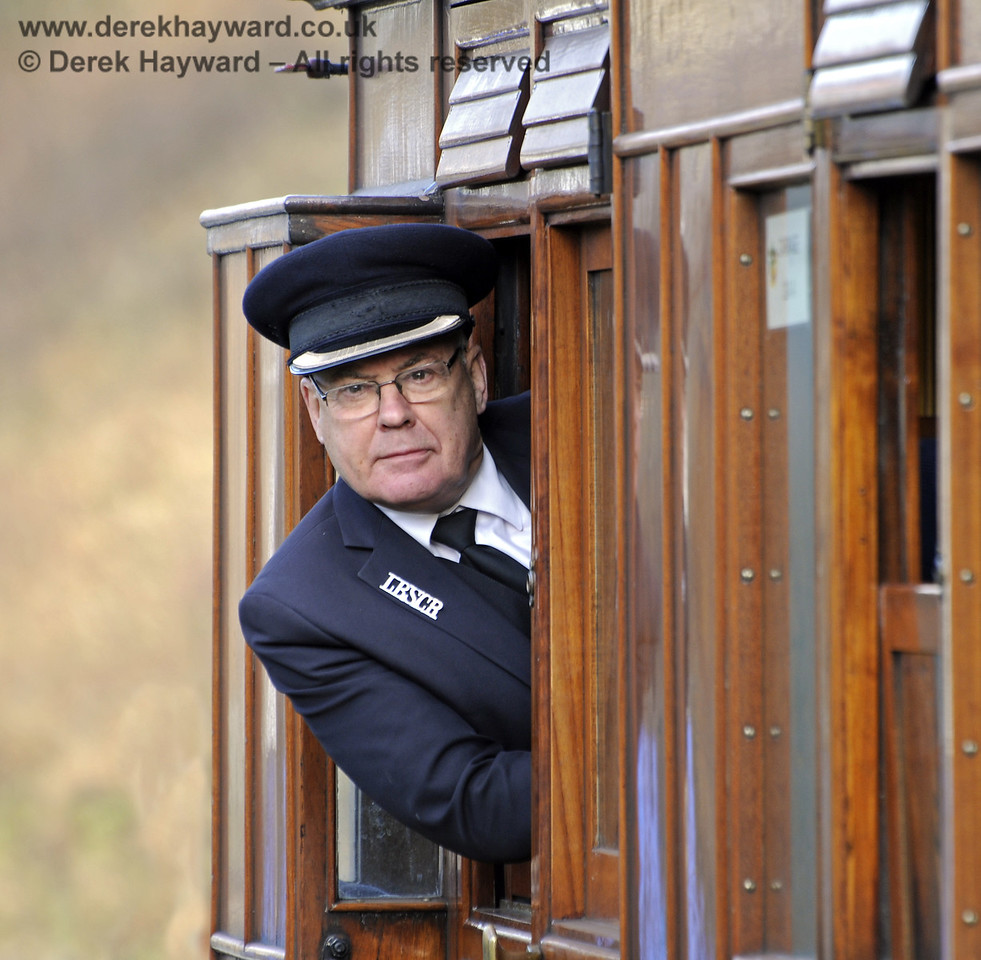 "Graham Todd, known as ""Toddy"", undertaking his duties as guard during the Victorian Christmas celebrations at Horsted Keynes.  21.12.2012  8436"