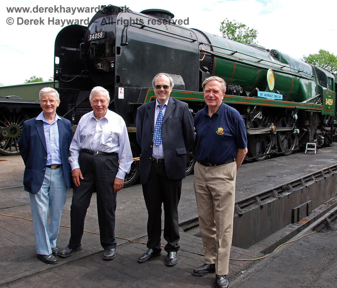 The four original students who thought up the idea of the Bluebell Railway in 1959 pose in front of 34059 Sir Archibald Sinclair.  (Left to right) Martin Eastland (since deceased), Alan Sturt, Chris Campbell and David Dallimore.  Sheffield Park 17.06.2009