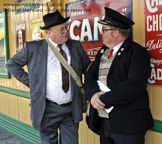 Tim Baker, Commercial Director, wearing a Southern at War disguise, chats to Richard Clark at Horsted Keynes.  07.05.2011  6950
