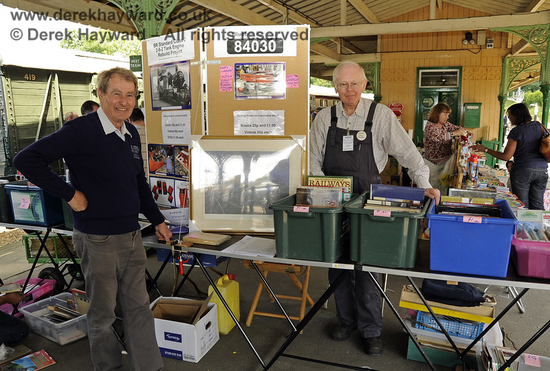 Tony Sullivan (left) and a colleague staff a stand raising money for the restoration of 84030 at the Horsted Keynes Collectors Fair.  24.07.2011  2251