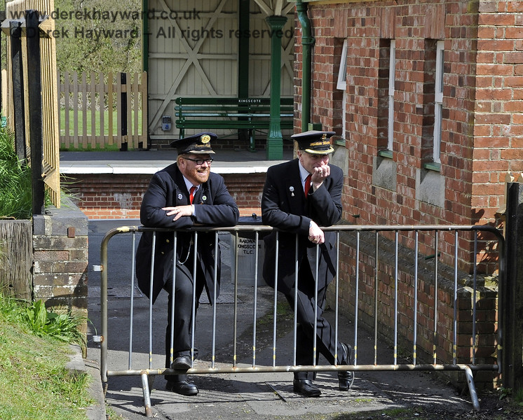 A Penny For Your Thoughts....  Station Masters Richard Clark and Roy Watts think they have found a quiet corner at Kingscote....  15.04.2012  4404  (More victims of the long lens).