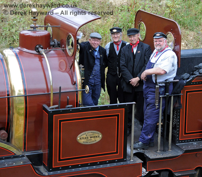 The crew on board Furness Railway No.20 as it reached the most northerly extent of the line at Imberhorne Bridge.  On the right is the late Phil Stoneman.  07.08.2010