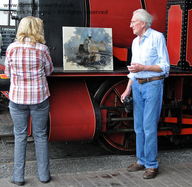 David Shepherd CBE FRSA FGRA, with one of his paintings at Sheffield Park Shed.  22.08.2010  4245