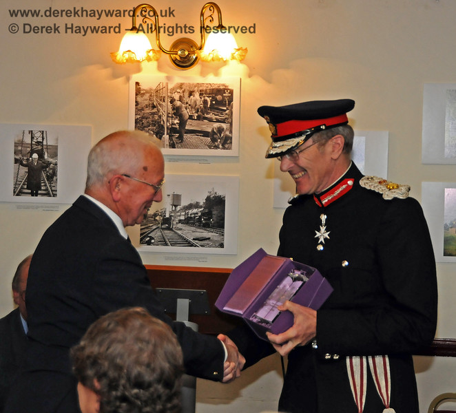 Her Majesty's Lord Lieutenant for East Sussex, Mr Peter Field, presents the Queens Award for Voluntary Service to the Bluebell Railway, the award being received on behalf of the railway by Mr Charles Hudson MBE.  Sheffield Park 16.09.2010  4787