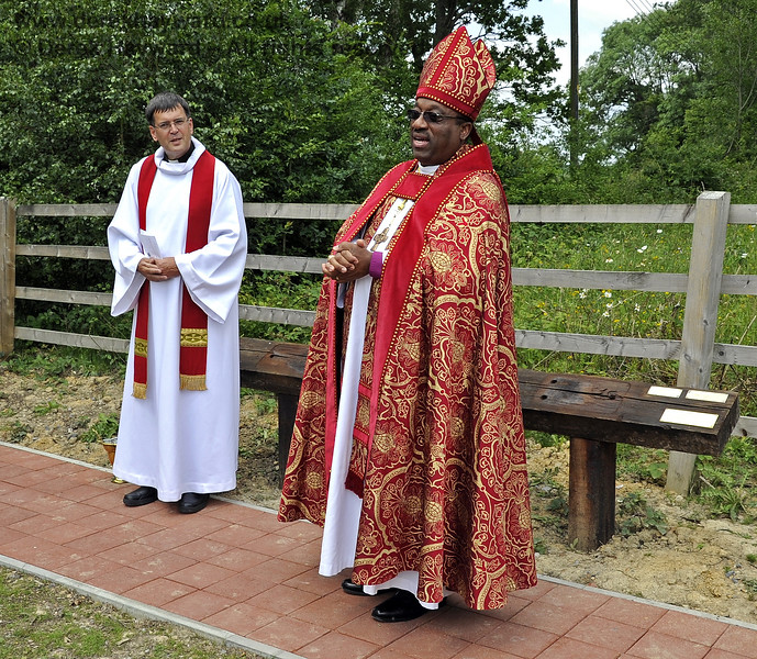 Father John Twistleton (Rector of St Giles' Church, Horsted Keynes) is the railway's Chaplain, and is seen here, on the left, officiating at the dedication of the Bluebell Railway's Memorial Garden at Horsted Keynes. The Chaplain was joined by The Right Revd Cornell Jerome Moss (Bishop of Guyana) who was visiting the parish at the time.  03.07.2011  2170