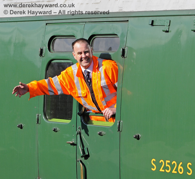 Fraser Hutchinson waves to his excited fan club on Platform 2 at Sheffield Park.  15.04.2012  7815  (OK, actually he was shunting....)