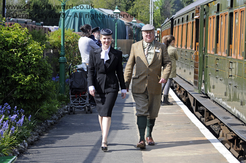 Tim Baker, Commercial Director, and Louise from Customer Services, suitably dressed at the Southern at War event.  13.05.2012  8074
