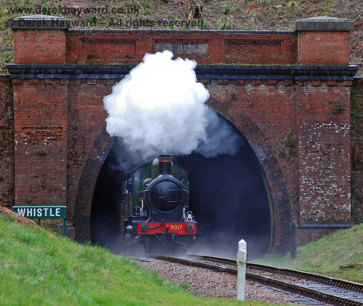 Unfortunately there can be some disadvantages if PWay are still inspecting West Hoathly tunnel when 9017 passes through with the first goods train of the day.  30.03.2008  See next image....