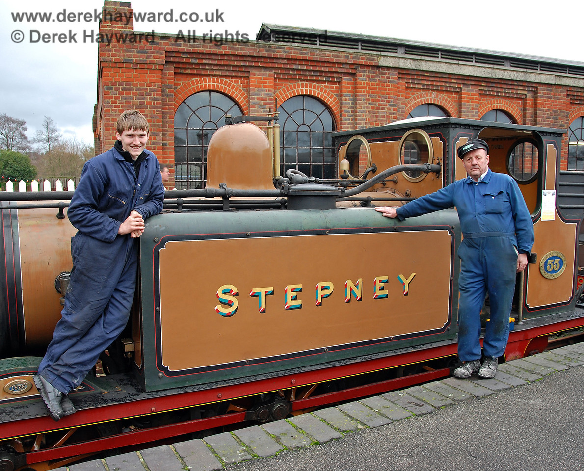 Two members of the Locomotive Department pose whilst giving footplate visits to Stepney in the Santa season.  Sheffield Park 05.12.2009