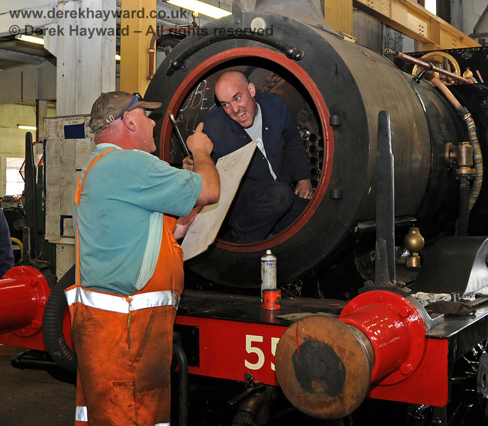 Friendly relations exist within the Workshops at Sheffield Park.  28.04.2010  2088.  Before the complaints roll in, this picture was posed...