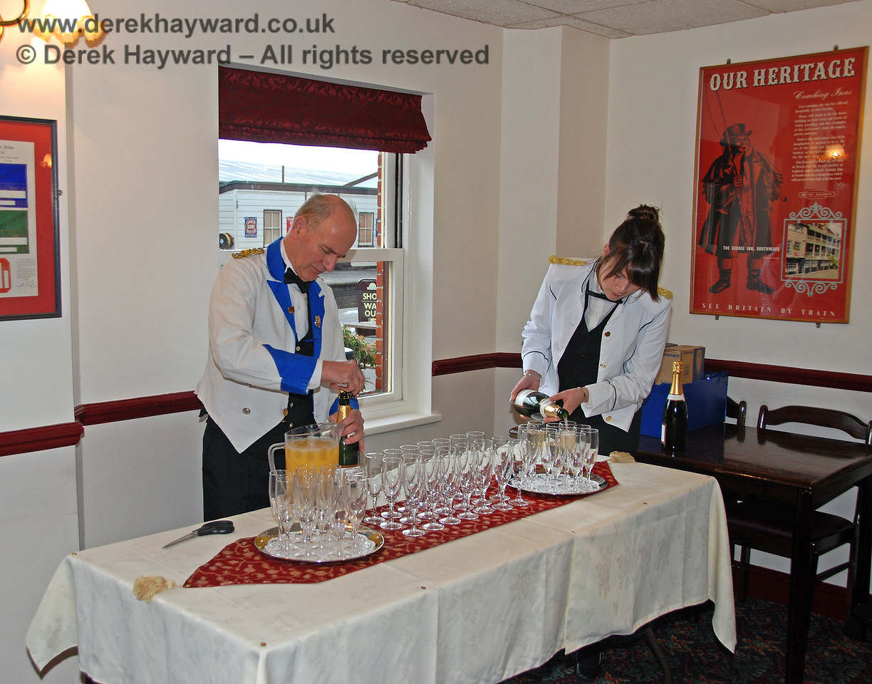Drinks are prepared for distinguished guests (not including photographers) at the launch of the Lounge Car service.  Sheffield Park 13.01.2008