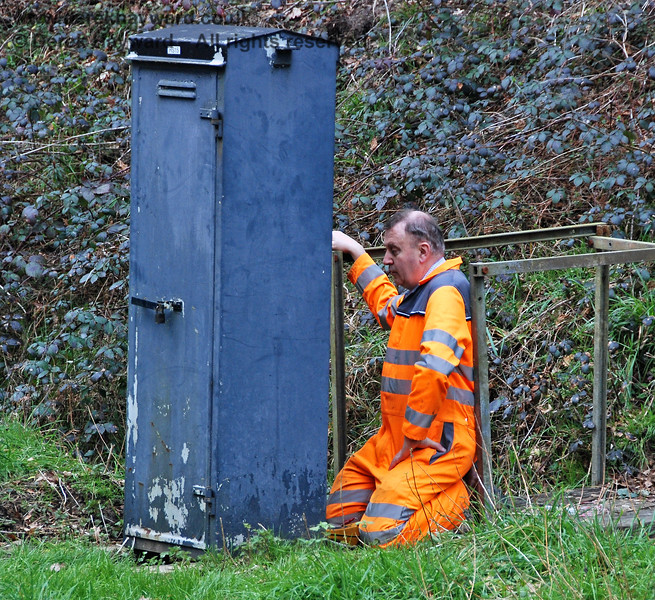 "A member of S&T rectifies a ""minor but irritating fault"" at Ketches Halt.  17.02.2007"