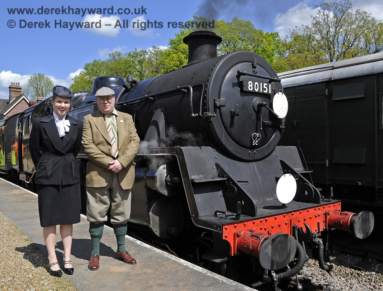 Louise from Customer Services and Tim Baker, Commercial Director, pose beside 80151 during a Southern at War event.  12.05.2012  4659