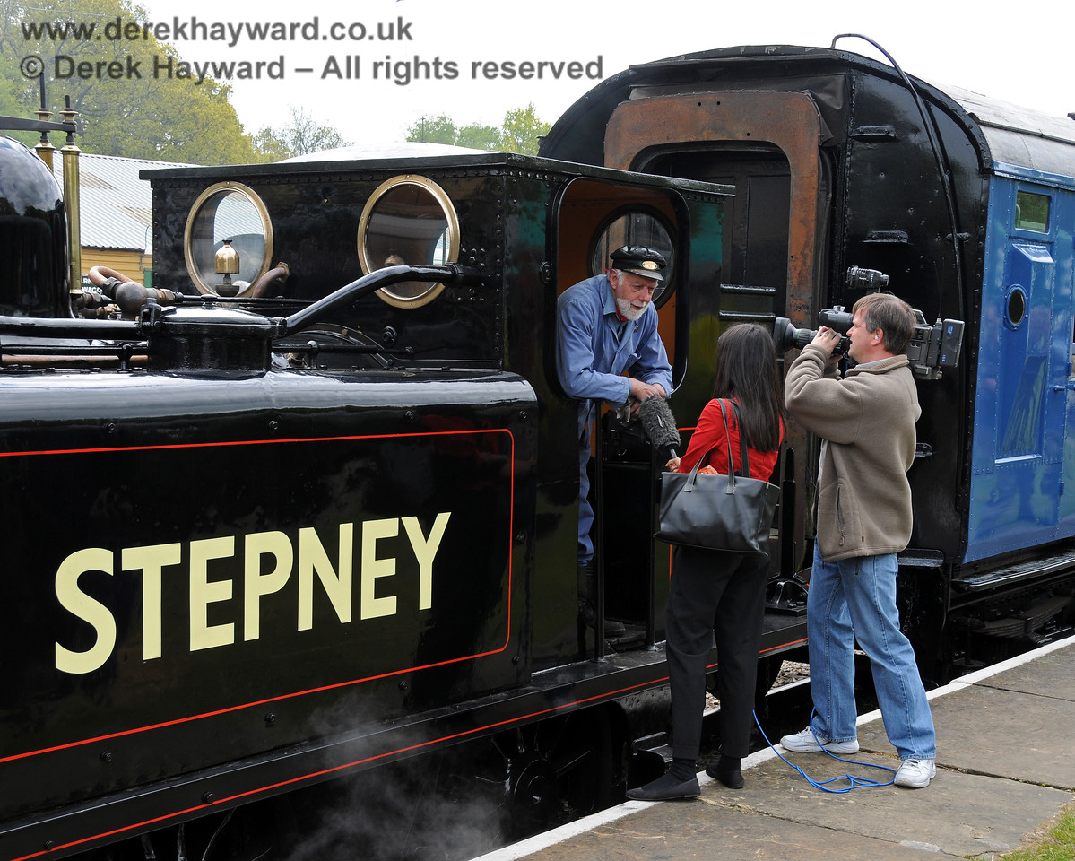 The crew of Stepney are interviewed by a TV crew at Horsted Keynes.  17.05.2010  2558