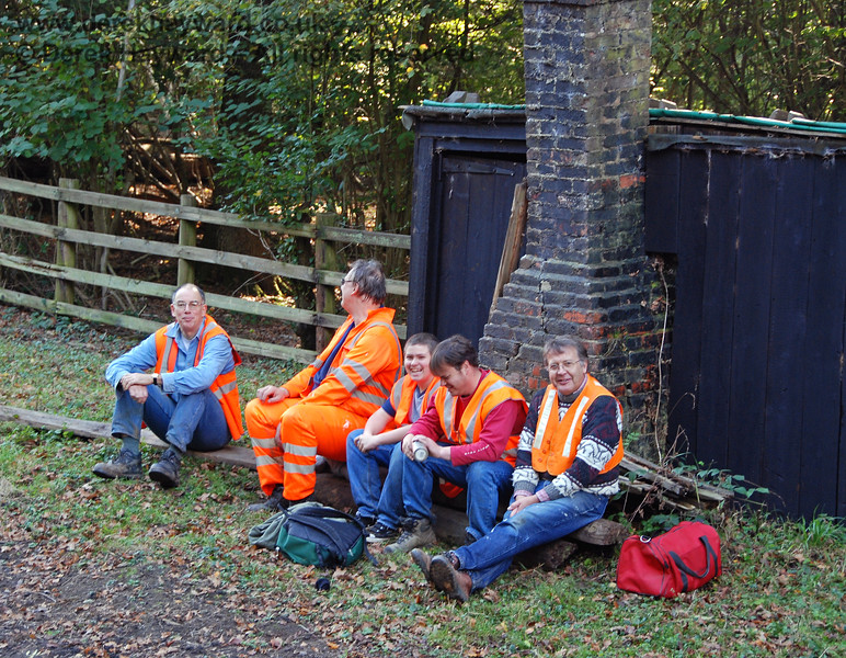 The Sunday Fencing Gang are an unsung team who work really hard maintaining the trackside fencing.  Unfortunately being innocent chaps no one had warned them about website photographers...until I took the picture.  I am assured it was a short break in an otherwise busy day.  Ketches Halt 21.10.2007  I passed by later and they were very busy (see next images)...