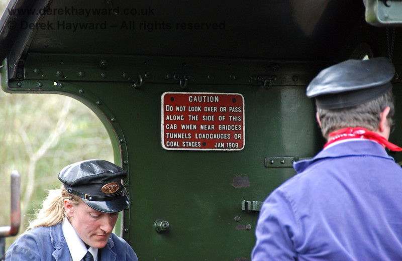 For those of you who think Health and Safety is a recent introduction, read the date on the notice in the cab!  Kingscote 09.04.2007