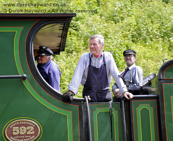 The crew on board 592 as it departs north from Horsted Keynes.  24.06.2012  5464