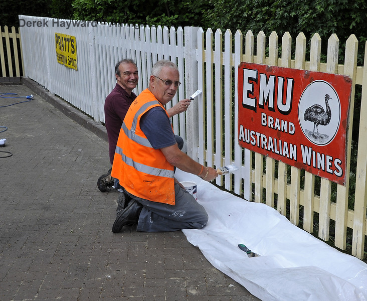 The Friends of Sheffield Park help to maintain the station.  Graham Aitken and Dave Brown demonstrate their painting skills.  30.05.2012  4940